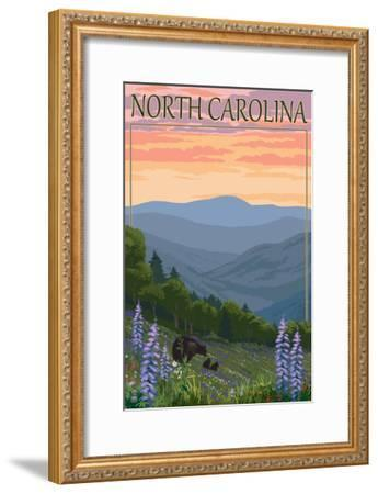 North Carolina - Bear and Cubs with Spring Flowers-Lantern Press-Framed Art Print