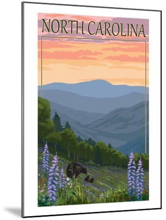 North Carolina - Bear and Cubs with Spring Flowers-Lantern Press-Mounted Art Print