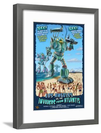 Los Angeles, California - Atlantean Invaders-Lantern Press-Framed Art Print