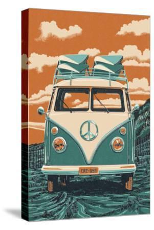 VW Van-Lantern Press-Stretched Canvas Print