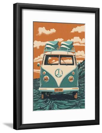 VW Van-Lantern Press-Framed Art Print