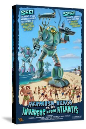 Hermosa Beach, California - Atlantean Invaders-Lantern Press-Stretched Canvas Print