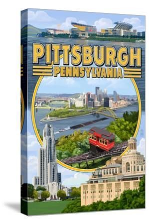 Pittsburgh, Pennsylvania - Montage Scenes-Lantern Press-Stretched Canvas Print