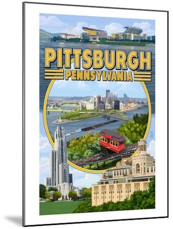 Pittsburgh, Pennsylvania - Montage Scenes-Lantern Press-Mounted Art Print
