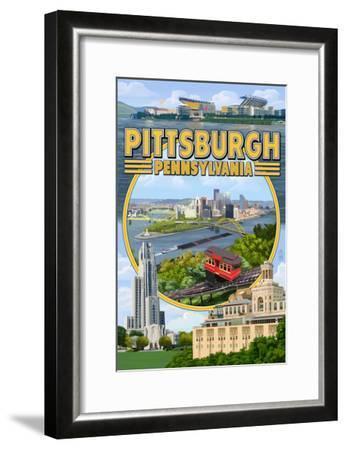 Pittsburgh, Pennsylvania - Montage Scenes-Lantern Press-Framed Art Print