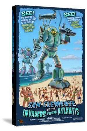 San Clemente, California - Atlantean Invaders-Lantern Press-Stretched Canvas Print