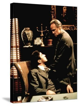 The Godfather, Al Pacino, Marlon Brando, 1972--Stretched Canvas Print