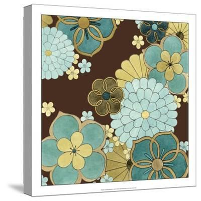 Cascading Blooms in Teal II-Erica J^ Vess-Stretched Canvas Print