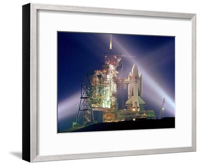 The Columbia on Launch Pad Prior to First Launch of 30 Year Space Shuttle Program, Apr 12, 1981--Framed Photo