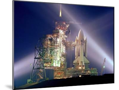 The Columbia on Launch Pad Prior to First Launch of 30 Year Space Shuttle Program, Apr 12, 1981--Mounted Photo