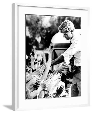 Robert Kennedy Shaking Hands During 1968 Campaign--Framed Photo