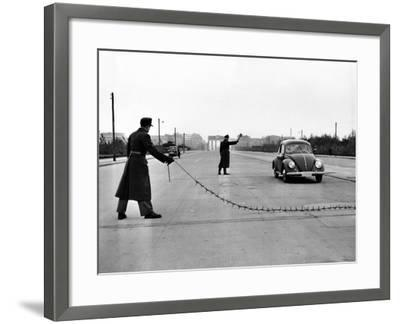East Berlin Customs Police Stopping a Volkswagen on Charlettenburger Chaussee, Oct 26, 1952--Framed Photo