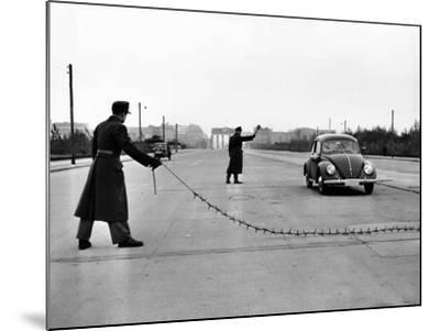 East Berlin Customs Police Stopping a Volkswagen on Charlettenburger Chaussee, Oct 26, 1952--Mounted Photo
