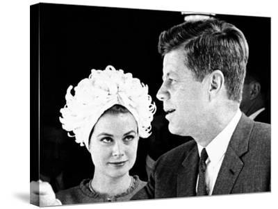 Princess Grace of Monaco and President John F Kennedy--Stretched Canvas Print