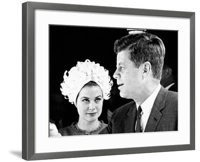 Princess Grace of Monaco and President John F Kennedy--Framed Photo