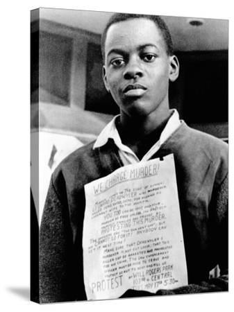 African American Youth Protests the Police Killing of Leonard Deadwyler--Stretched Canvas Print
