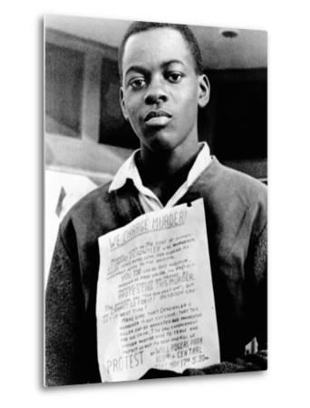 African American Youth Protests the Police Killing of Leonard Deadwyler--Metal Print