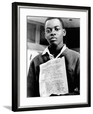 African American Youth Protests the Police Killing of Leonard Deadwyler--Framed Photo