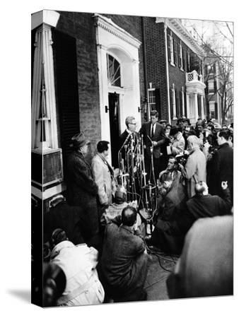 Mob Scene Outside President-Elect John Kennedy's Georgetown Home--Stretched Canvas Print