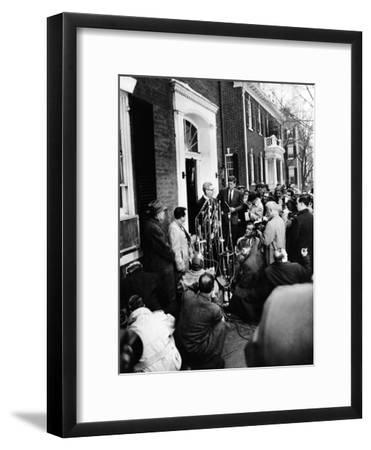 Mob Scene Outside President-Elect John Kennedy's Georgetown Home--Framed Photo