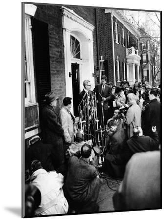 Mob Scene Outside President-Elect John Kennedy's Georgetown Home--Mounted Photo