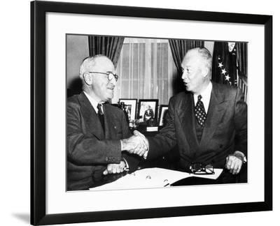 President Harry Truman with President Elect Dwight Eisenhower after Nov Elections, Nov 18, 1952--Framed Photo