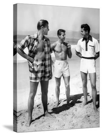 Male Models Pose in Jantzen's 1952 Men's Bathing Suits--Stretched Canvas Print