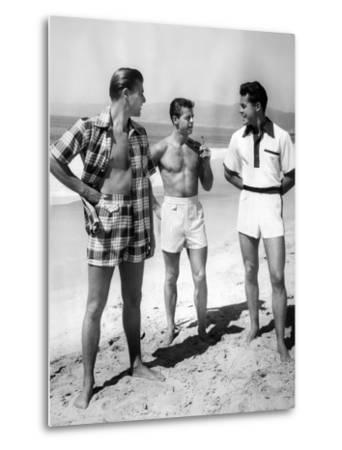 Male Models Pose in Jantzen's 1952 Men's Bathing Suits--Metal Print