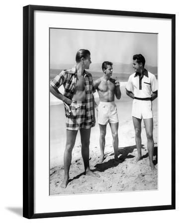 Male Models Pose in Jantzen's 1952 Men's Bathing Suits--Framed Photo