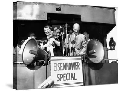 Rep Candidate Pres Dwight Eisenhower and Wife on Eisenhower Special in 1952 Election, Nov 3, 1952--Stretched Canvas Print