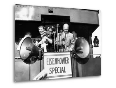 Rep Candidate Pres Dwight Eisenhower and Wife on Eisenhower Special in 1952 Election, Nov 3, 1952--Metal Print