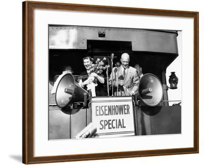 Rep Candidate Pres Dwight Eisenhower and Wife on Eisenhower Special in 1952 Election, Nov 3, 1952--Framed Photo
