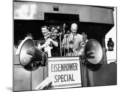 Rep Candidate Pres Dwight Eisenhower and Wife on Eisenhower Special in 1952 Election, Nov 3, 1952--Mounted Photo