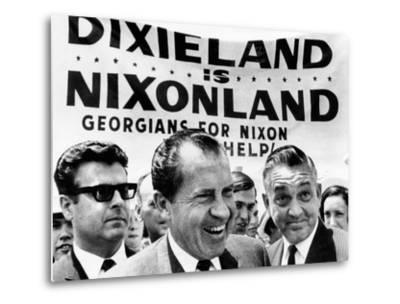 'Dixieland Is Nixonland', Reads a Big Sign Behind Republican Presidential Candidate, Richard Nixon--Metal Print