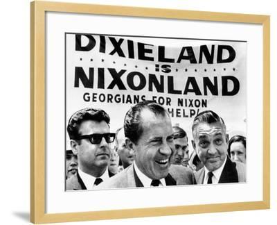 'Dixieland Is Nixonland', Reads a Big Sign Behind Republican Presidential Candidate, Richard Nixon--Framed Photo