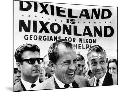 'Dixieland Is Nixonland', Reads a Big Sign Behind Republican Presidential Candidate, Richard Nixon--Mounted Photo