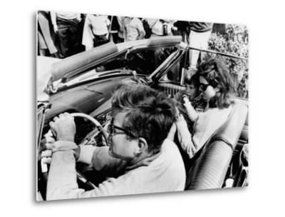 Pres Kennedy Drives an Open Car in Newport, Rhode Island--Metal Print