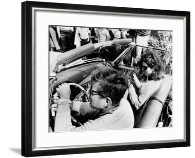 Pres Kennedy Drives an Open Car in Newport, Rhode Island--Framed Photo