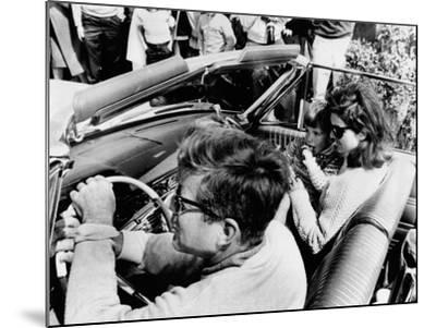 Pres Kennedy Drives an Open Car in Newport, Rhode Island--Mounted Photo