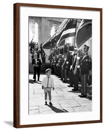 Young John Kennedy Jr, the President's Son, 'Inspects' the Honor Guard--Framed Photo