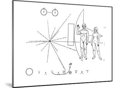 Pictorial Plaque of the Pioneer F Spacecraft Destined for Interstellar Space--Mounted Photo