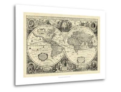 Vintage World Map--Metal Print