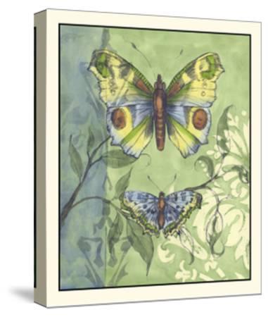 Embellished Vibrant Butterflies I-Jennifer Goldberger-Stretched Canvas Print