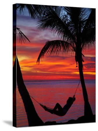 Woman in Hammock, and Palm Trees at Sunset, Coral Coast, Viti Levu, Fiji, South Pacific-David Wall-Stretched Canvas Print