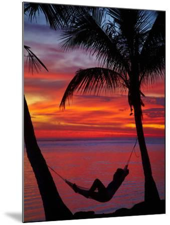 Woman in Hammock, and Palm Trees at Sunset, Coral Coast, Viti Levu, Fiji, South Pacific-David Wall-Mounted Photographic Print