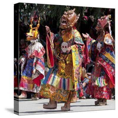 Buddhist Monks Dancing, Chemrey Monastery, Ladakh, India-Jaina Mishra-Stretched Canvas Print