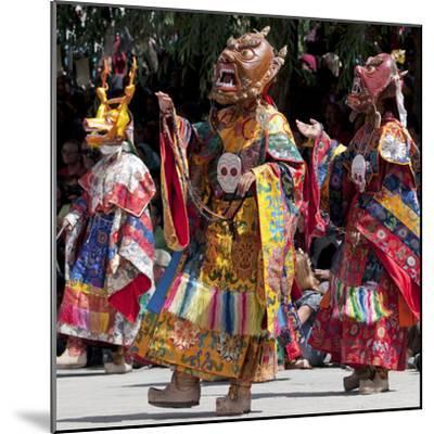 Buddhist Monks Dancing, Chemrey Monastery, Ladakh, India-Jaina Mishra-Mounted Photographic Print