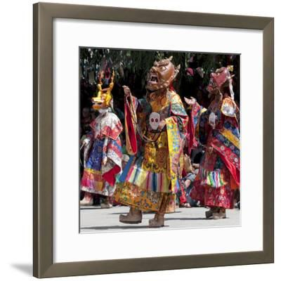 Buddhist Monks Dancing, Chemrey Monastery, Ladakh, India-Jaina Mishra-Framed Photographic Print