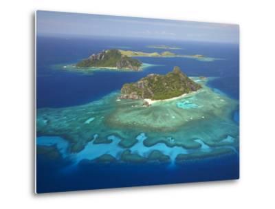 Monuriki Island and Coral Reef, Mamanuca Islands, Fiji-David Wall-Metal Print