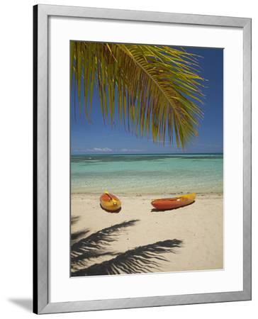 Kayaks on the Beach, Plantation Island Resort, Malolo Lailai Island, Mamanuca Islands, Fiji-David Wall-Framed Photographic Print